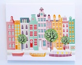 Amsterdam Wall Art, Canal Houses, Wall Art Canvas Print Framed, Dutch Cityscape, Illustration, Home decor, Art for kids room, nursery, Gift