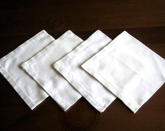 NAPKINS Vintage Tablecloth Replacement Set 4 Drawn Hemstitched Solid White Linen