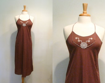 1970s Nightgown / Vintage Brown Open Back Nightgown / Vintage 70s Lingerie