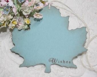 Wish Tree Wedding Tags - Autumn Leaf Shape - Bridal Shower Wish Tags - Soft Blue - Set of 25
