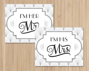 Instant Download - Mr and Mrs - Art Deco Wedding - Chair Signs - The Charleston - Gatsby Wedding