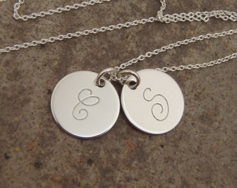 Two initial disc necklace - Personalized Mom necklace - Couples Initials - Kids initials - Personalized, Sterling silver charm necklace