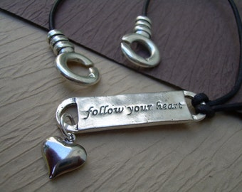 Follow your heart Leather Necklace, Womens Necklace, Womens Jewelry