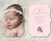 """Set of 50 LUXE Birth Announcement, Vintage Ornate, """"Hello"""" - a die cut birth announcement for your new baby (No. 11022)"""