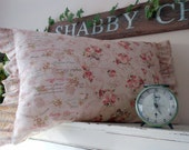 Beautiful Bunches of Pink Roses Pillow in Brocante Shabby Chic Style