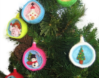 Christmas Diorama Ball CHURCH Ornament Pdf Email Knit PATTERN