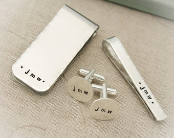 Men's Gift Set with Cuff Links, Money Clip and Tie Clip. Personalized Gifts for Men, Hand Stamped, Groom Gift, Gifts for Him, Wedding Day