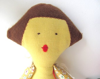 Noa-- Doll----Child friendly---Recycled--Toy-Cotton-yellow---  CHRISTMAS --  handmade- Fabric Doll -Children- Free shipping
