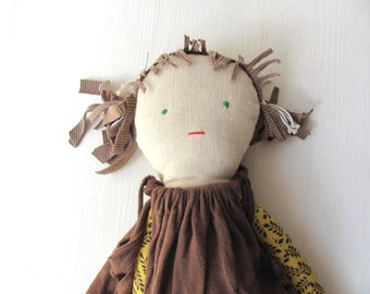 LeLa-- Doll--Recycled---Handmade-Child friendly-Fabric Doll-toys-brown-sweet-children love---under 55 USD