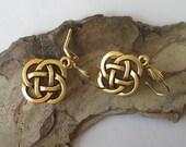 Gold Celtic Earrings, Open Celtic Knot, Celtic Knot Jewelry, Lead Free Pewter Metal Drop, Leverback Dangle Earrings