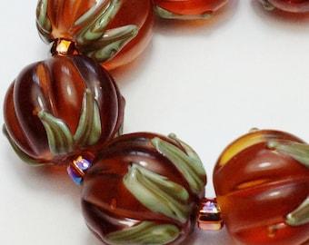 Lampwork Glass Beads Earring Pair Etched Matte Topaz 'Autumn Pumpkins'