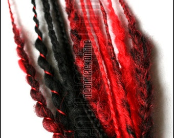 Red and black mini dread fall - synthetic dread extensions
