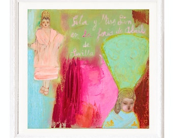 Fine Art Giclee Print pink red turquoise green, two andalusian girls modern wall art print by Ana Gonzalez