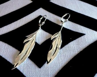 Delicate Matte Silver Feather Pierced Earrings