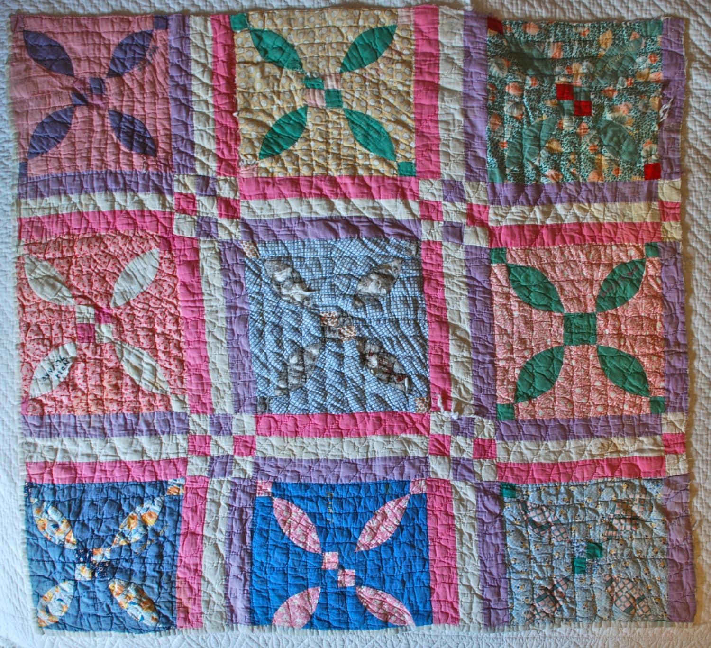 Antique Quilt Piece 1920s Lovers Knot Signed Friendship Quilt