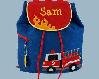 Personalized Stephen Joseph Toddler FIRETRUCK Backpack In Blue and Red