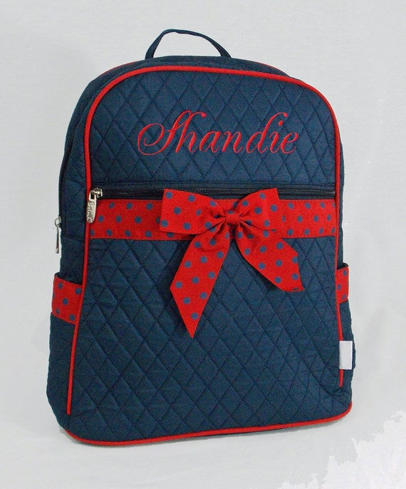 Personalized Large Quilted Backpack Navy Blue With Red  Polka Dot Ribbon Trim-Monogramming Included