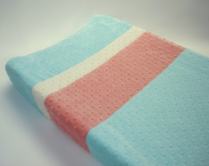 Robins Egg Blue Changing Pad Cover with Stripes