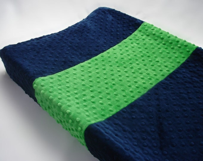 Navy Blue Changing Pad Cover with Kelly Green Stripe