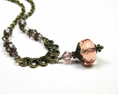 Victorian Style Necklace, Dusty Rose Peach, Antique Pink, Czech Glass, Swarovski Crystal, Romantic Jewelry, Fashion Jewelry, Antique Brass, - jewelrybyNaLa