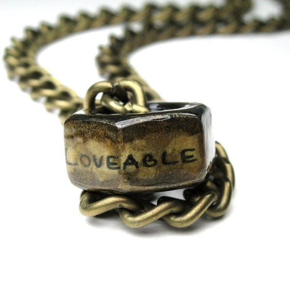 One Big Loveable Nut, Hex Nut Necklace, Antiqued Brass, Metal Jewelry, Mens Accessories, Gifts for Men, Love, Humorous, Funny, Manly, Him