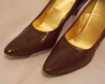 Vintage Lizard Stileto Shoes, 1950-60 Style, Size 6 AA,  De Lise, Vintage Antique High Heels, Costume Dress Up Stage Elegant