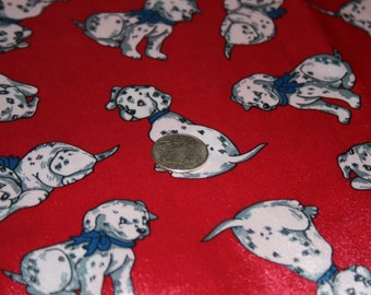 Dalmation Puppies on Red Satin Fabric