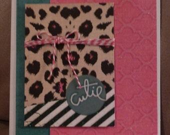 Handmade Card - Cutie -  Glittered Animal Print - Feminine - Baker's Twine - FREE Shipping