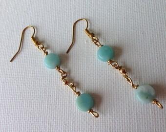 Dangling Jade & Gold Earrings