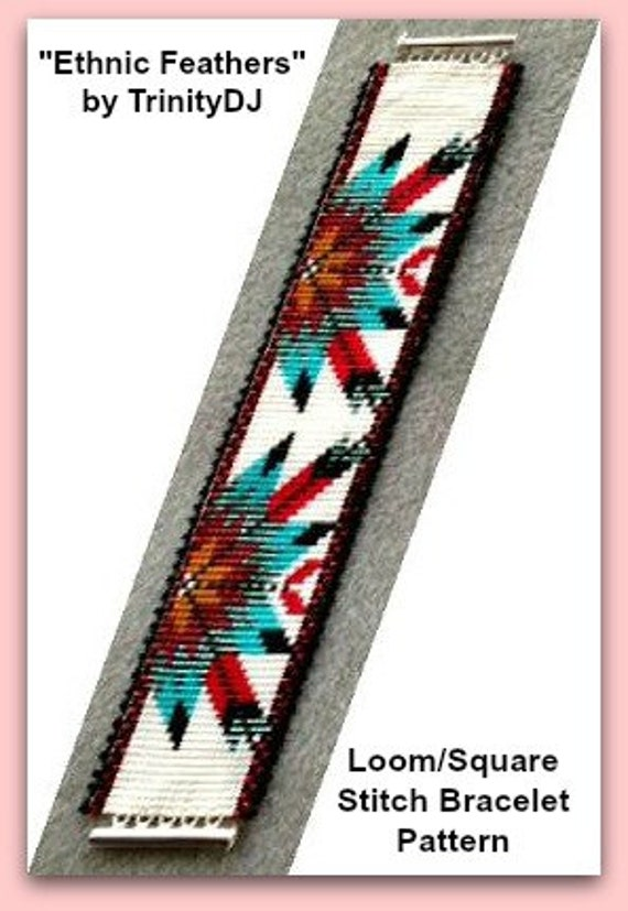 bpet002 ethnic feathers loom or square stitch