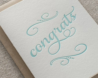 Letterpress Congratulations Card - mint script