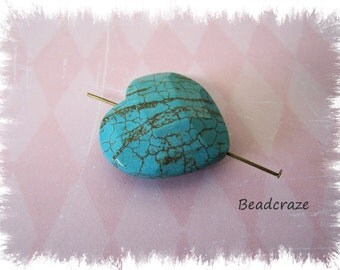 Chunky Faceted Heart Turquoise Focal Bead
