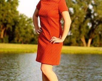 60s Orange Dress M/L Free US Shipping
