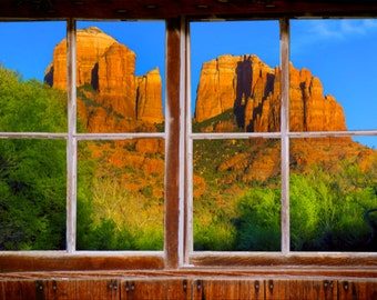 Wall mural window, self adhesive, Sedona window view-3 sizes available-Cathedral Rock - free US shipping