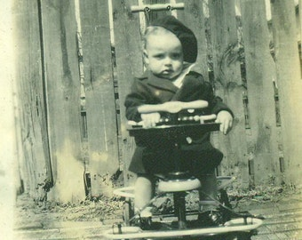 I Am Not Impressed Well Dressed Baby Sitting in Stroller 1920s Antique Vintage Black and White Photo Photograph