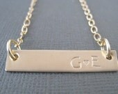 You & Me... Gold Bar Necklace - Initial Necklace - Mommy Necklace - Couple's Necklace-Gift for Mom - Gift for Girlfriend - Anniversary Gift