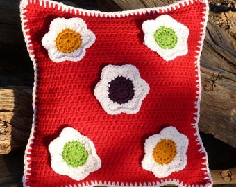 Totally Rad Flower Pillow - PDF Crochet Pattern - Instant Download