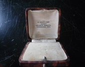 Reserved for Mlle Vuong. Antique engagement ring box - leather printed paper - velvet and silk interior -Victorian