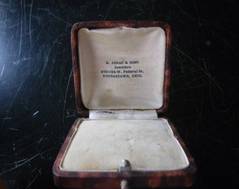 Antique engagement ring box - leather printed paper - velvet and silk interior -Victorian