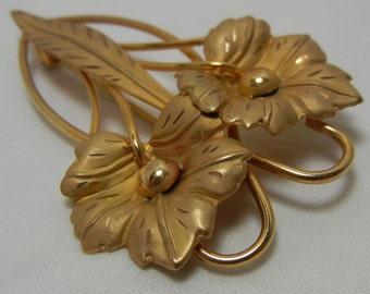 Vintage Retro Brooch 12k Gold Filled Vintage Flower Pin Signed CC 1950s