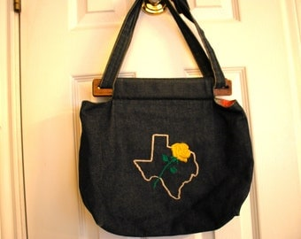 Blue Denim Country Girl Purse Bag Tote Yellow Rose Texas Sweet Vintage Piece Neutral Lining