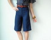 Vintage 70's Navy Blue Wide Leg Shorts / Pintucked Culottes / Gaucho Pants / High Waist