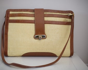 Vintage 1970's Straw and Leather Briefcase by Tuff of Beverly Hills