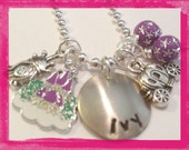 Personalized Princess Necklace - PRINCESS And HER CASTLE - Hand Stamped Jewelry #p213