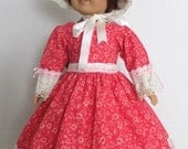 1700 1800 Afternoon Tea Doll Dress and Bonnet - American Girl Doll Clothes, Doll Clothing, Doll Accessories  - 1034