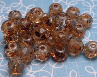 Clear Picasso Faceted Glass Donut Beads 3x5mm - 10pc