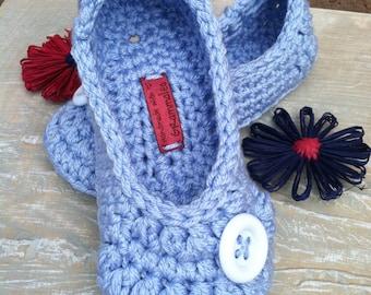 Women's Crochet Blue Slippers | Baby Blue Crochet Slippers | Hand Crochet Slippers | House Shoes | Crochet Booties | Slippers