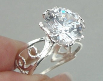 Solitaire Ring,  Engagement Ring, Woman  925 filigree sterling Silver Sparkling white Cz Ring Size 7 (r 10007g)