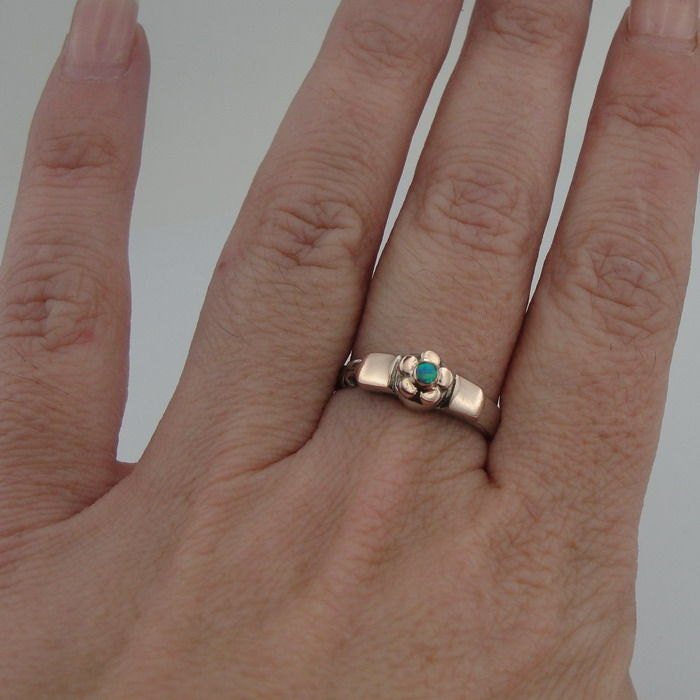 New Hand Crafted Sterling Silver combined 9K Gold flower Opal  Ring  size 8 - READY TO SHIP