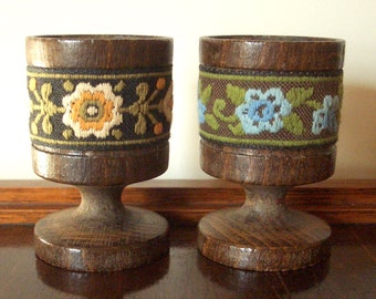 Egg Cups - One Pair, Dark Turned Wood with Folklore Embroidered Trim, Sky Blue, Peach, Sage Green, Breakfast Table, Set of 2, Free Shipping